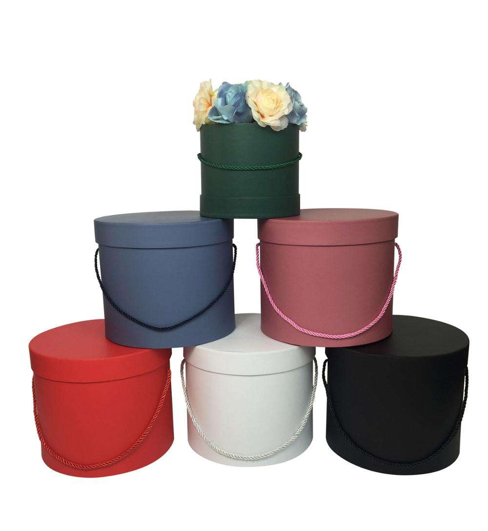2019 hot sale in stock 5 colors cardboard round flower hat box