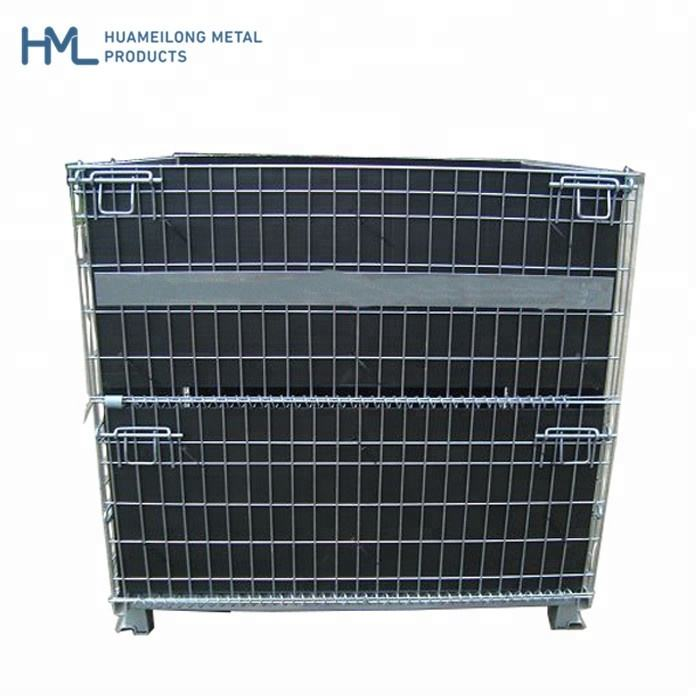 Hot dip light duty foldable welded material storage galvanized stackable cheap metal mesh pet preform container