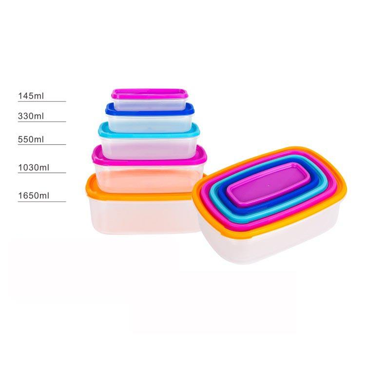 10pcs rectangle plastic food container stackable storage box rainbow colorful set