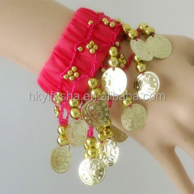Indian dance costumes cuff beaded bellydance bracelet with cion