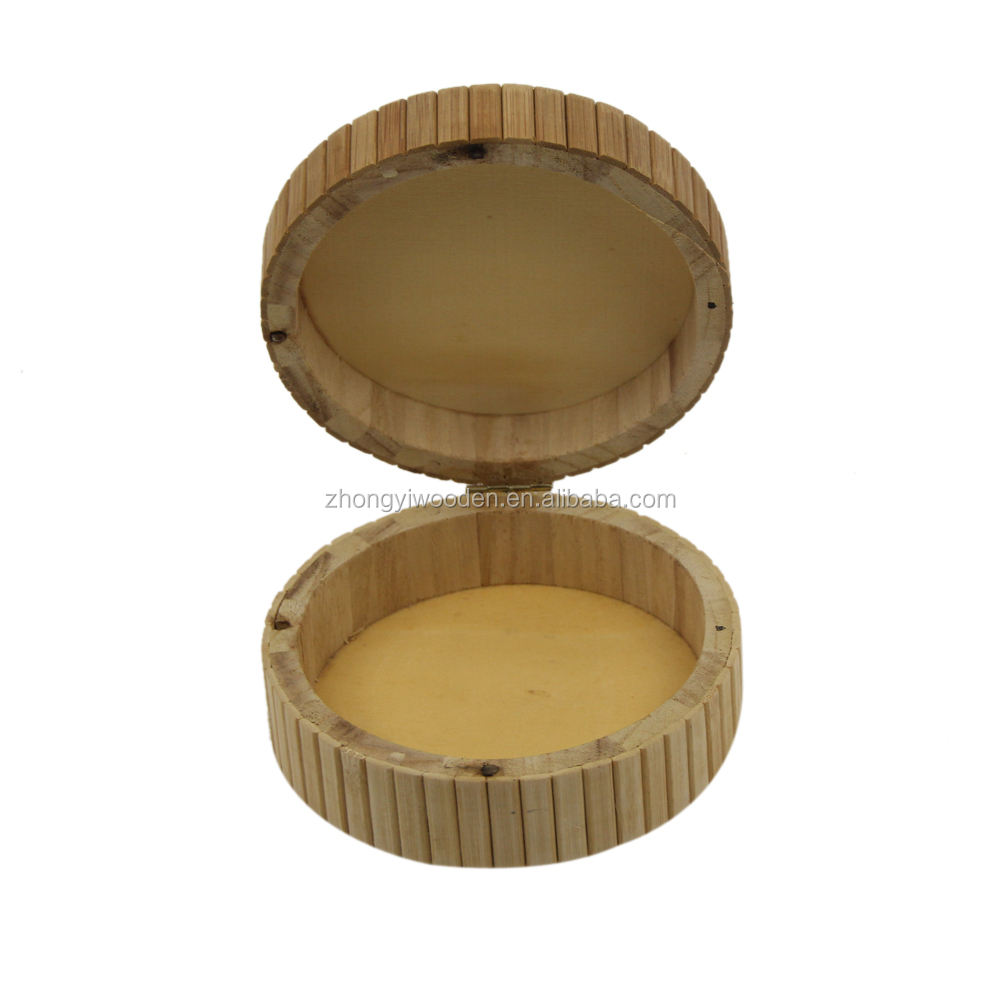 2020 Wood Material natural small Arab round box caved jewelry gift Box hinged lid