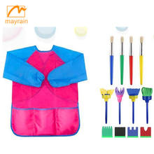 wholesale painting color waterproof kids art smock with drawing tool