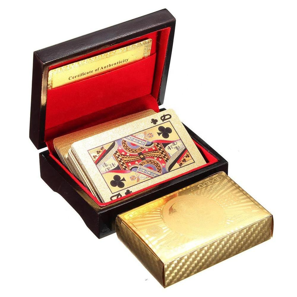 2019 new hot Gift Wooden box pack golden silver plastic playing cards waterproof durable PVC Poker cards 24K Plated Gold Foil ga
