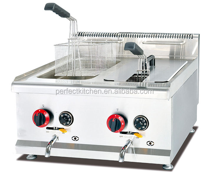 Stainless Steel Gas Chips Deep Fryer for Restaurant KFC fast food shop with Temperature Thermostat and Gas Safety