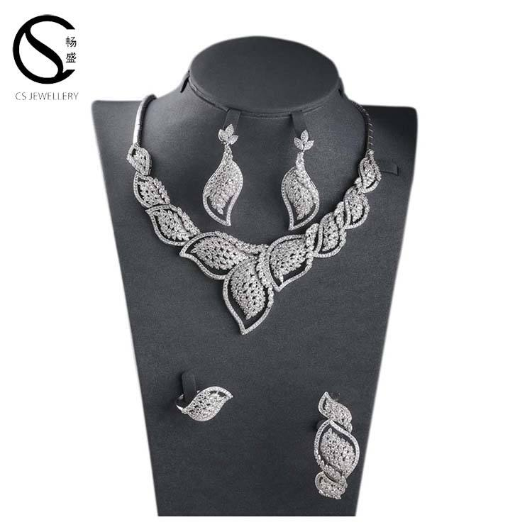 dubai wedding jewellery designs beautiful 925 silver luxury leaf shape jewelry set