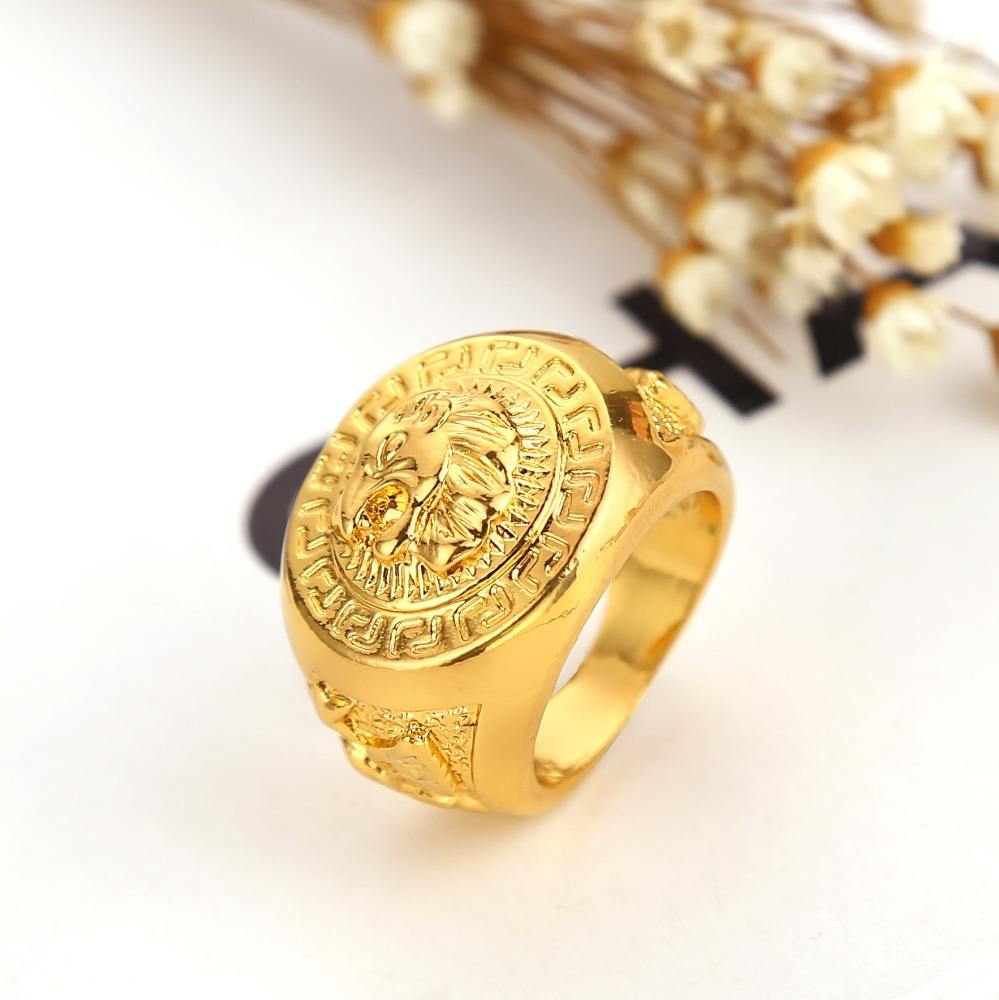 Best selling fashion 24k gold plated lion head big gold ring