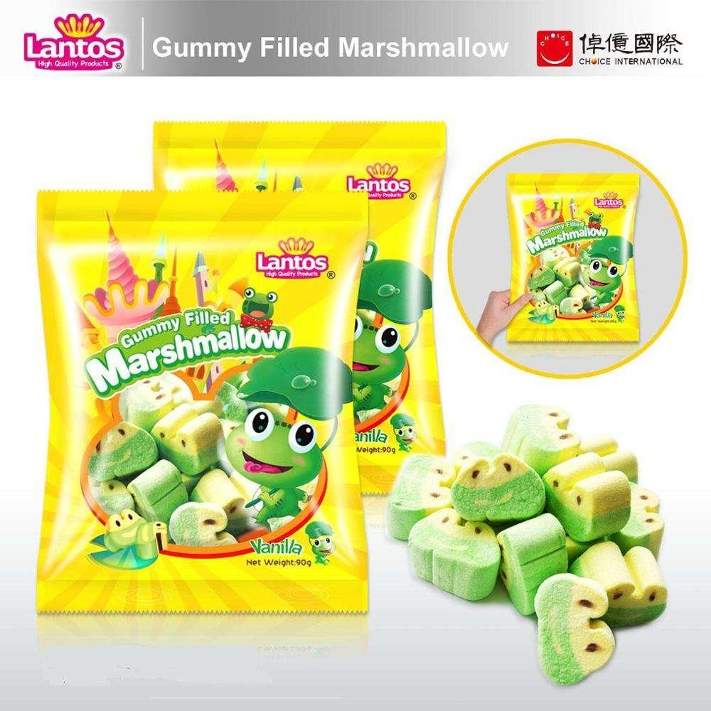 90g Lovely Frog Design Gummy Filled Marshmallow