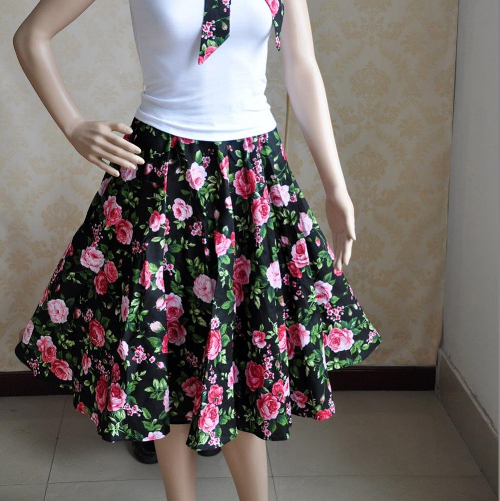 Retro Style girl floral dresses with scarves Rockabilly 50s Rock Lolita Costume Floral Hawaii Petticoat Pin Up Gothic Punk