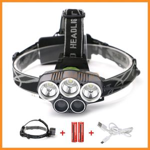 T6 LED Q5 Headlamp 5 USB Baterai Isi Ulang Lampu Senter