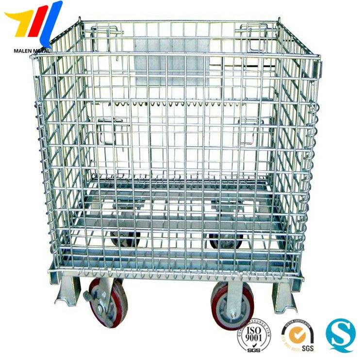 Supermarket Metal Wire Mesh Container Foldable Storage Crate for Storage
