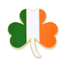 Irish flag shamrock pin badge custom enamel flag pin
