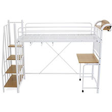Modern space-saving japan white adult metal loft bed with desk and USD LED