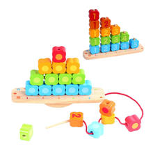 Non-Toxi Shape Color Recognition Balance Parent-child Wooden Bead Educational Counting Stack and Sort Block Toy Set