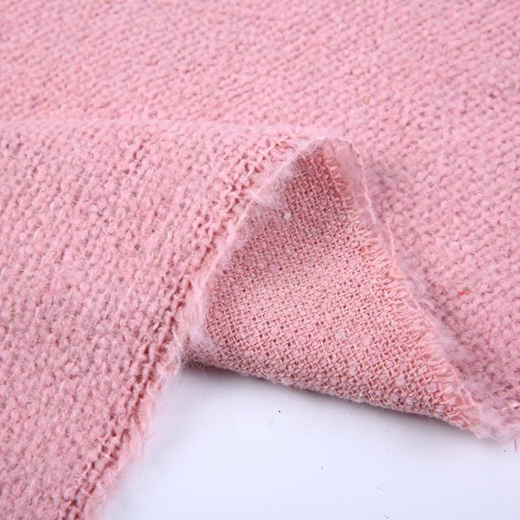 Pink woolen stock lot wool fabrics thick woven tweed fashion fabric rolls