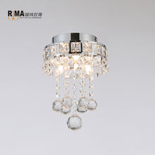 Rima Lighting 2019 Mini Style Small Crystal Chandeliers Semi-Flush Mount Ceiling Light for Hallway Foyer Kitchen