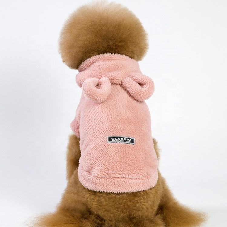 Factory direct sale hooded thick fleece pet supplies dog clothes for Teddy