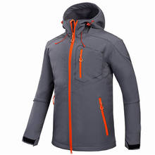 Custom Men Sports Softshell Jackets Grey Outdoor Camping Coats Thermal Waterproof Soft Shell Jacket With Hood