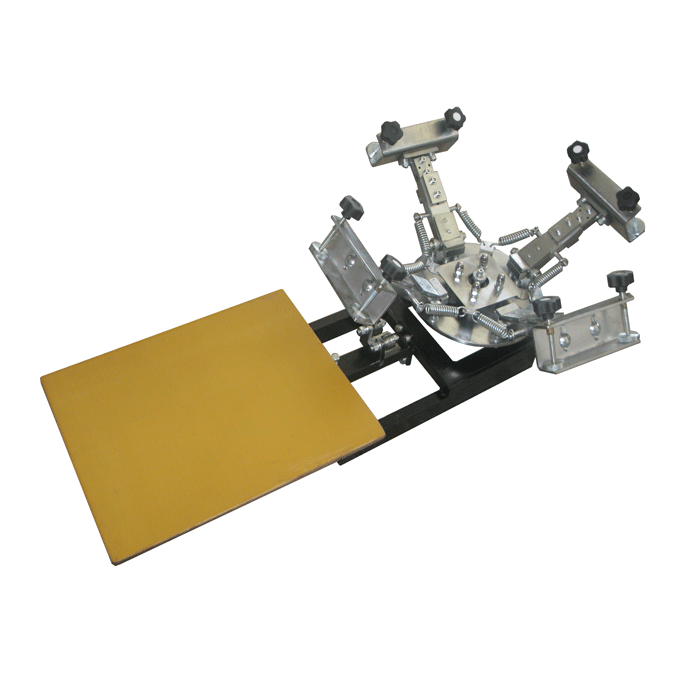 4 Colors and 1 Table Manual Rotating Silk Screen Printing Machine