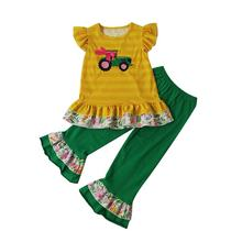 Wholesale children boutique clothing fall 2019 girls boutique clothing set tractor applique girl outfit