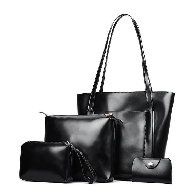 2018 дешевые <span class=keywords><strong>дизайнер</strong></span> большой подлинный черный искусственная кожа дамы Tote сумочка на ремне сумки 4 шт. набор для женщин
