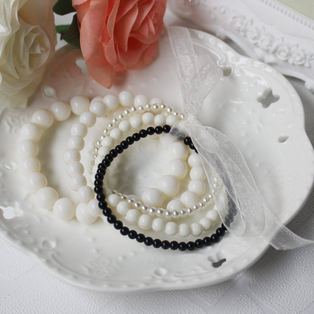 China Made High Quality Acrylic Simulation Pearl Beads Bracelet 10mm 4mm Mixed Black White Chunky Beads Bracelet for Woman