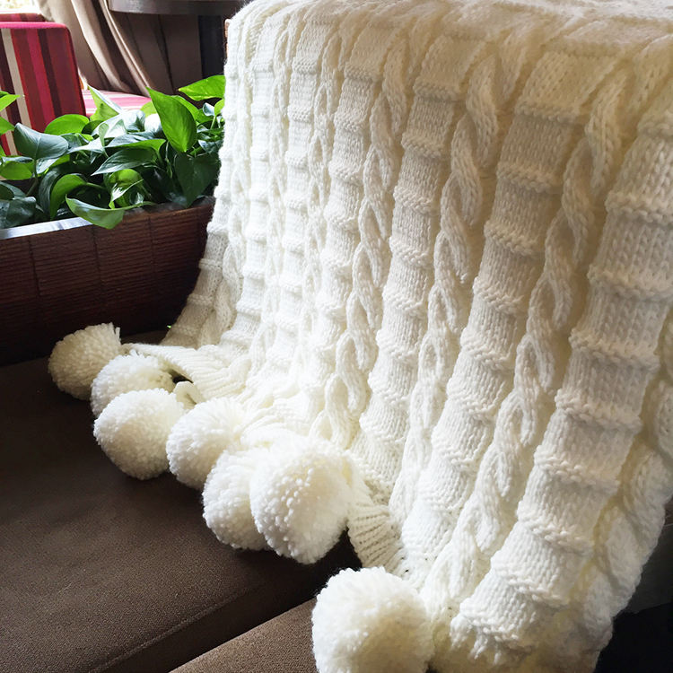 SZPLH Cozy 100 Acrylic Knitted Body Cable Blanket With Pompoms
