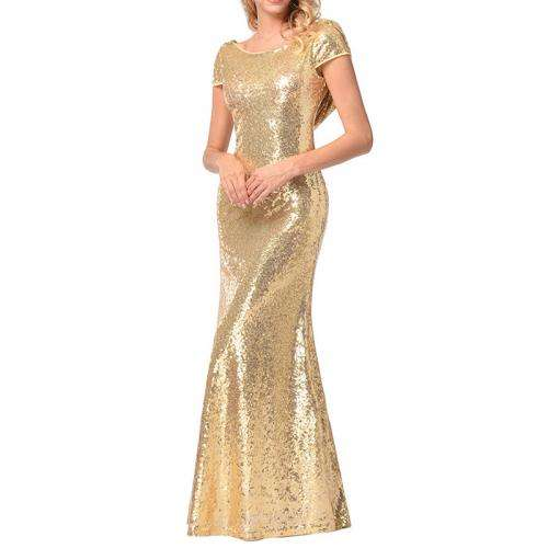 New Sequin Polyester Cotton Slim gold Bridesmaid Dress backless 238323