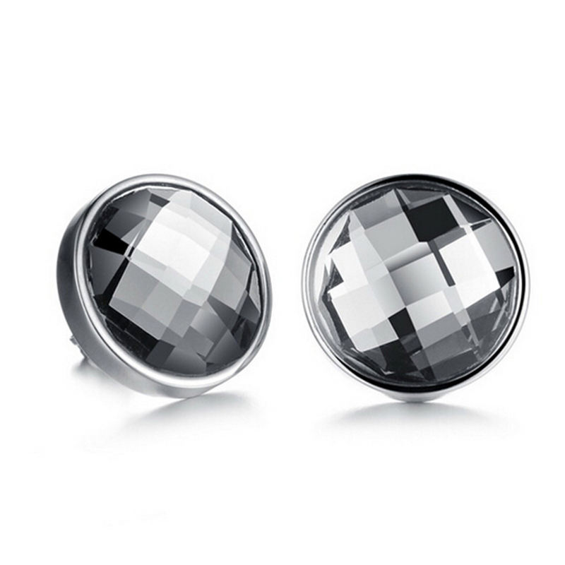 Vintage Jewelry Stainless Steel 14mm Plain Round Stud Glass Earrings