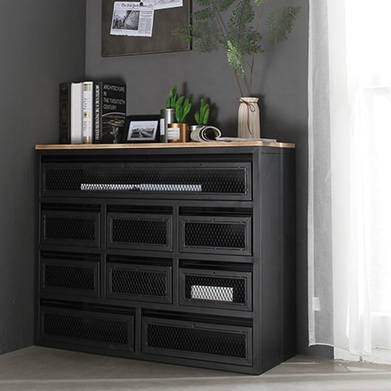 shipping container furniture black metal cabinet living room cabinet with door and drawers