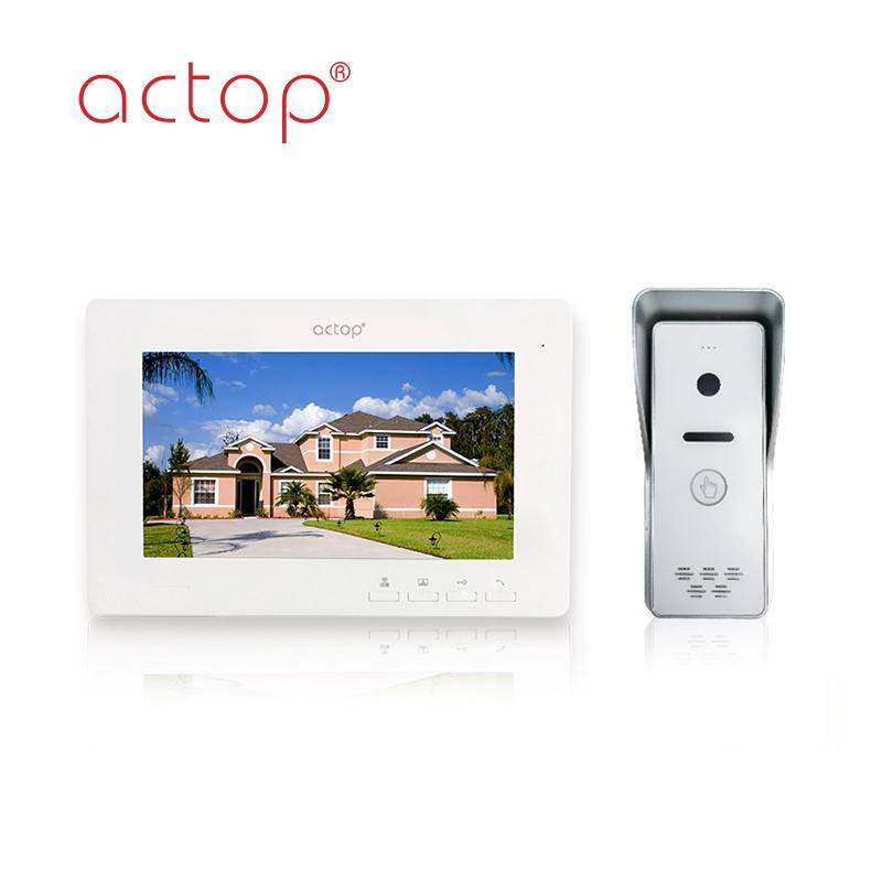 7 inch color TFT multi-apartment intercon system unlock electronic lock monitor audio function wired video doorbell