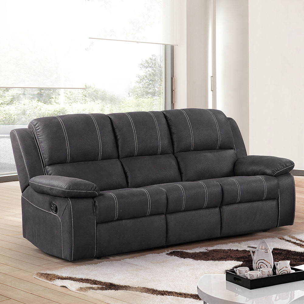Elegant design living room leather 3 seater recliner chair sofa