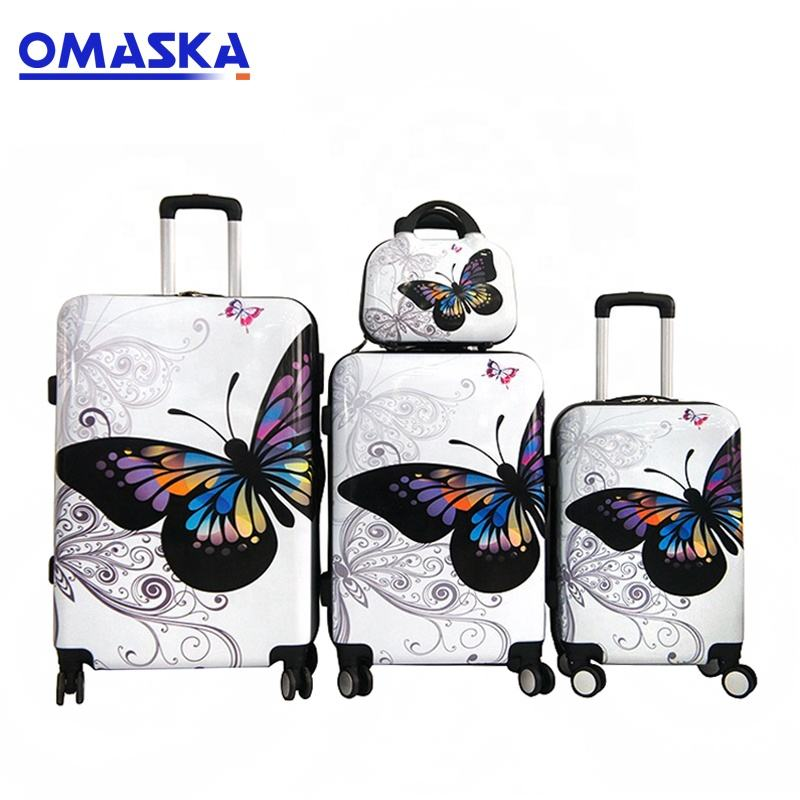 made in China factory 4 pieces 20 24 28 inch butterfly abs suitcase with 12 makeup case