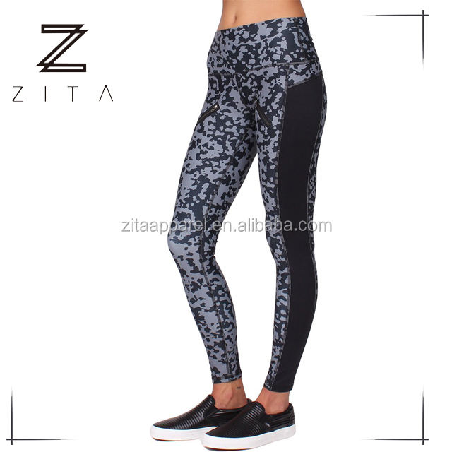 High Quality Assured Breathable Women Gym Printed Tights Yoga Leggings With Zip Pockets For Women
