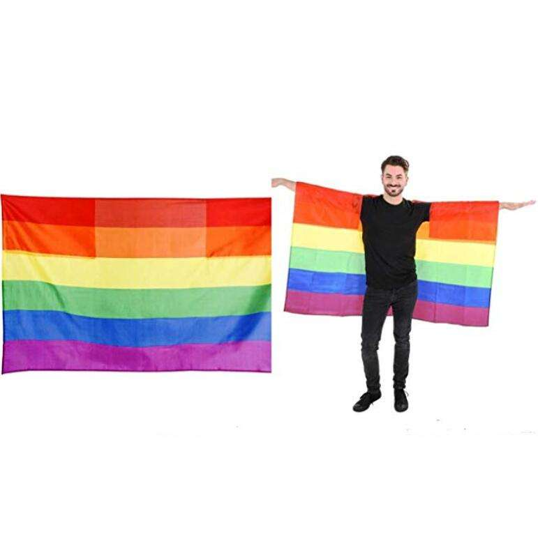 Cheap stock 100%polyester LGBT gay pride rainbow cape flag with sleeve