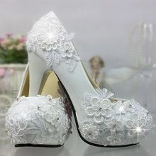 ZH1133X White lace crystal wedding shoes high heel waterproof platform custom diamond sexy bridal shoes