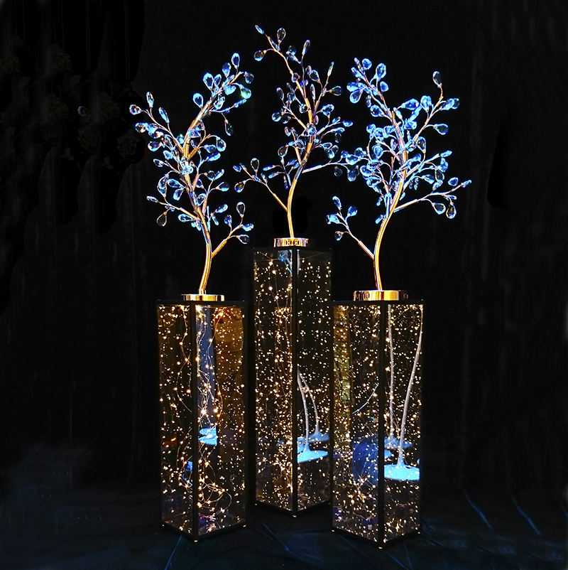 Wedding gold rose luxury crystal tree centerpiece walk way stand for wedding decoration