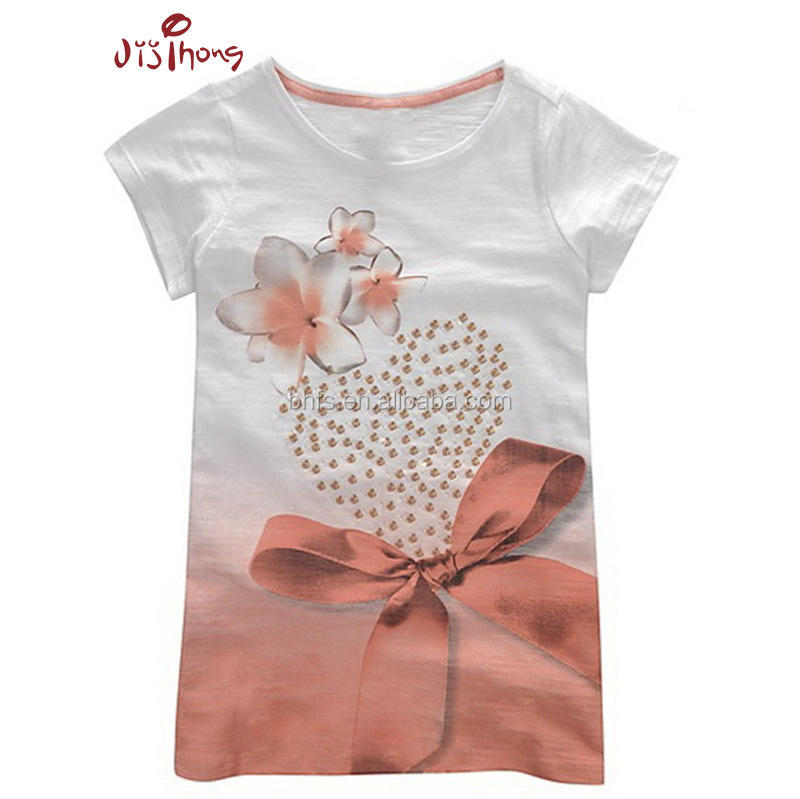 knit garments print blouses top fashion beautiful teen girl wholesale cotton kids t shirt sublimation t-shirt