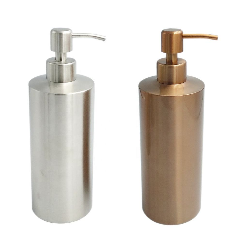 Soap Bottle Pump 550ml Cylinder Shaped Champagne Color 304 Stainless Steel Hand Wash Soap Dispenser Bottle With Pump Cap