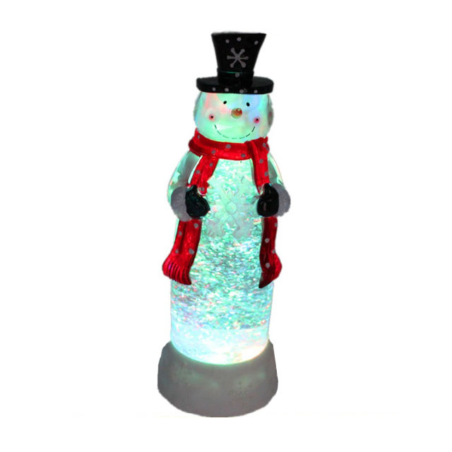 Battery operated Led acrilico decorazione Di Natale liquido glitter luce pupazzo di neve