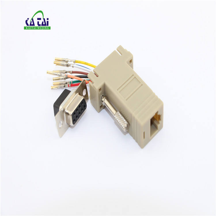 DB 9 RS232 Serial DB9 Female to RJ45 8P8C Network Modular Adapter Ivory