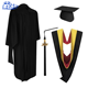2018 Customized Latest Unisex Black 100% Polyester Graduation Gown and cap for graduate students wholesale