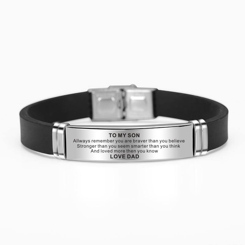 To My Son Encourage Stainless Steel Engraved Letter Black Silicone Watch Buckle Leisure Bracelet