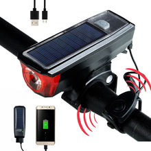 3 in 1 Bike Light solar powered Bike Front light 3 Lighting Modes USB Rechargeable Bicycle Headlight with 120 DB Speaker