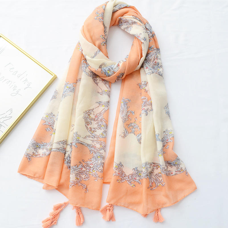 Factory Supply New High Quality Geometric Flower Printed Scarf Women Orange Sunscreen Fringe Cotton Shawl
