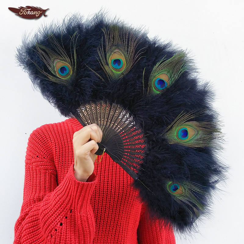 FK Feather Cheap Black Peacock Feather Fans Dance Marabou Feather Fans