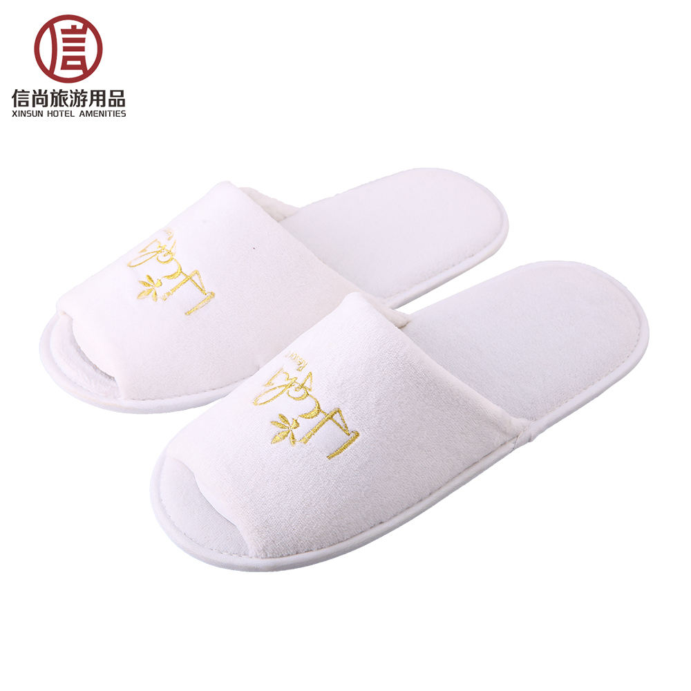 Good price luxury coral velour slipper for hotel