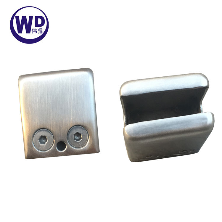 """Stainless Steel 304 Grade Square Flat Back Glass Clamp/Holder 45 x 45mm for"""" Laminated Glass, Satin Finish"""