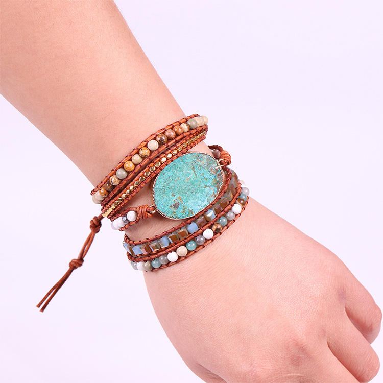 Women Leather Bracelet Unique Mixed Natural Stones bead Gilded Stone Charm 5 Strands Wrap Bracelets Handmade Boho Bracelet