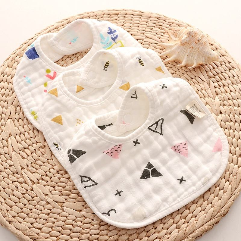 New design adjustable cotton muslin plain white baby bibs for kids