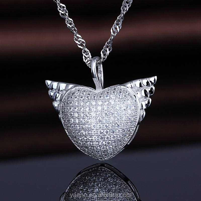 Wholesale Most Popular 925 Silver Angel Wings Heart Locket Pendant Design for Necklace